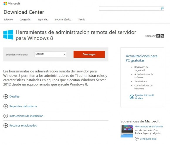 Consola Remota Terminal Server en Windows 8: Descarga RSAT